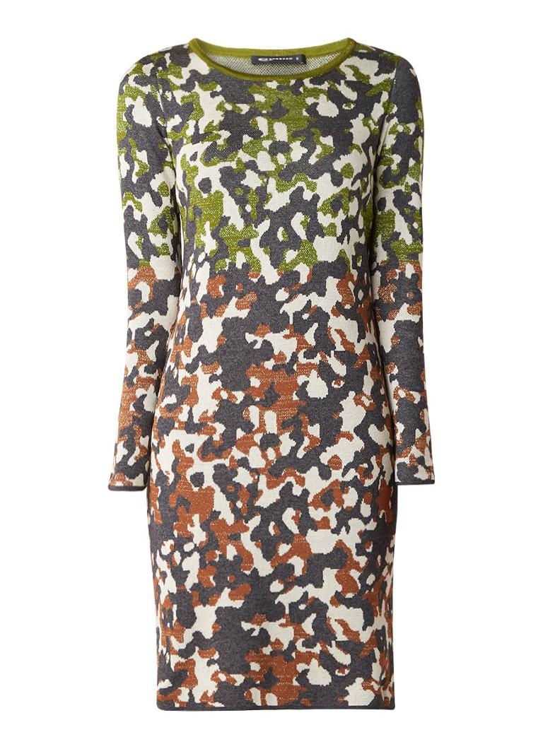 Expresso Monica fijngebreide midi-jurk in katoenblend donkergrijs
