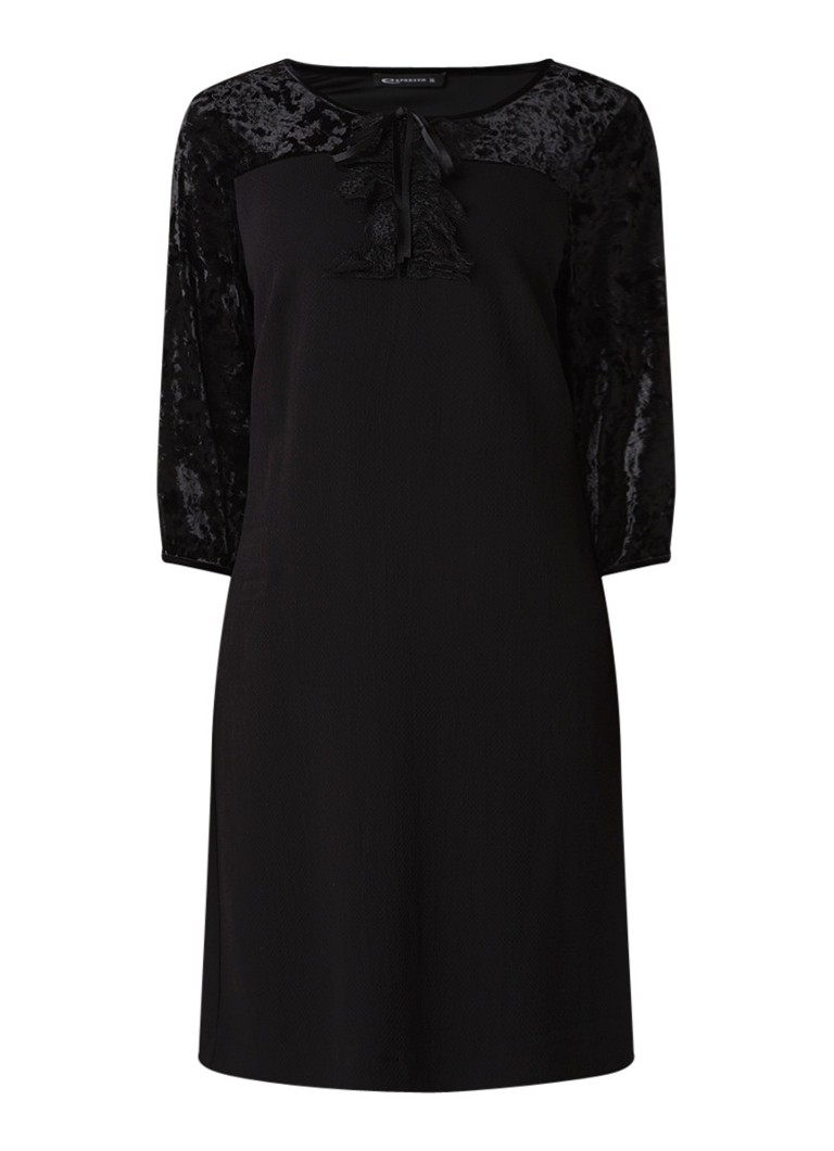 Expresso Nanette midi-jurk van crêpe met inzet van fluweel zwart