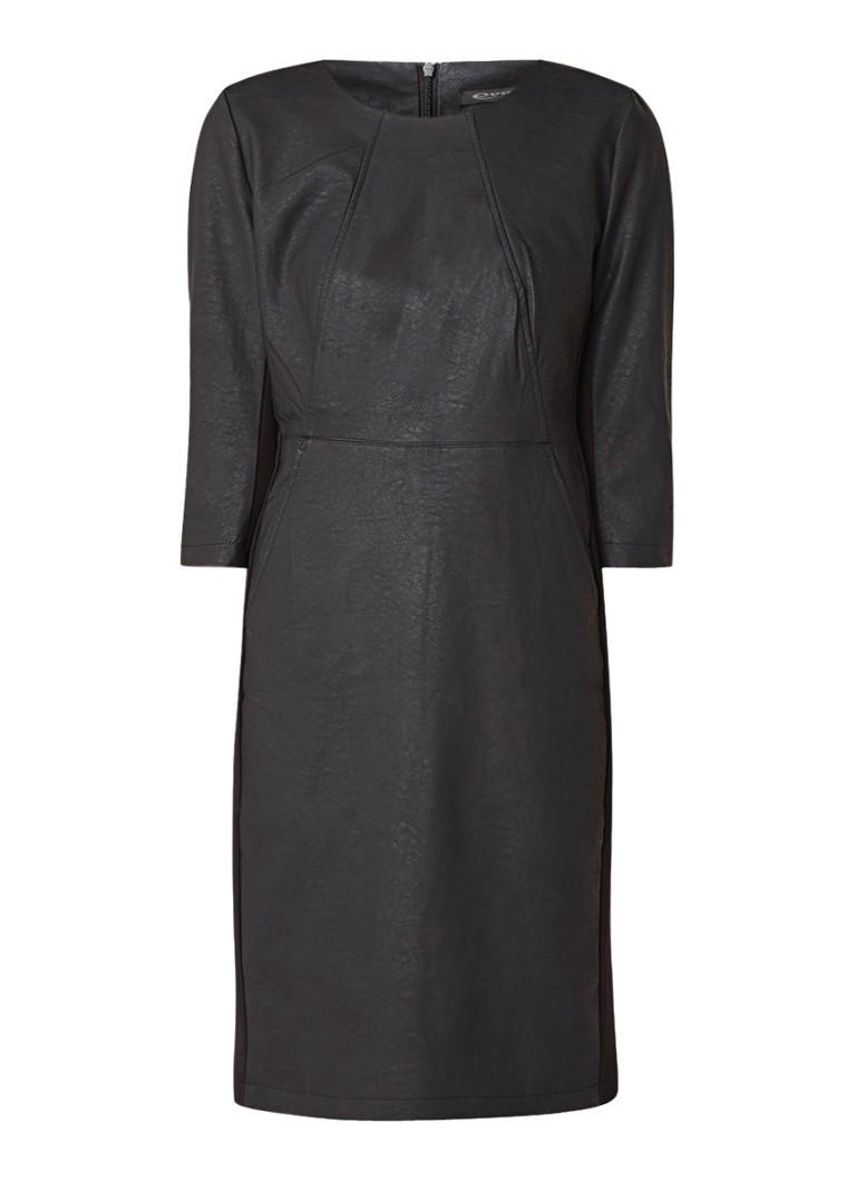 Expresso Nava tuniekjurk van imitatieleer met inzet van jersey zwart