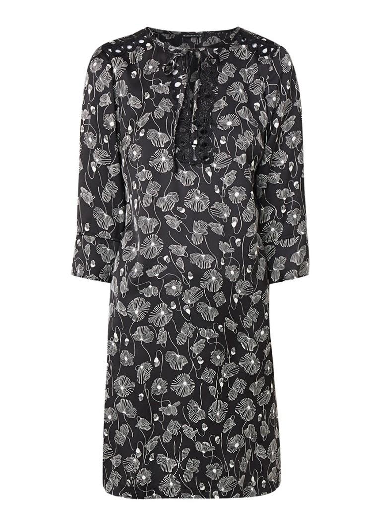 Expresso Zeno loose fit midi-jurk met dessin en kant zwart