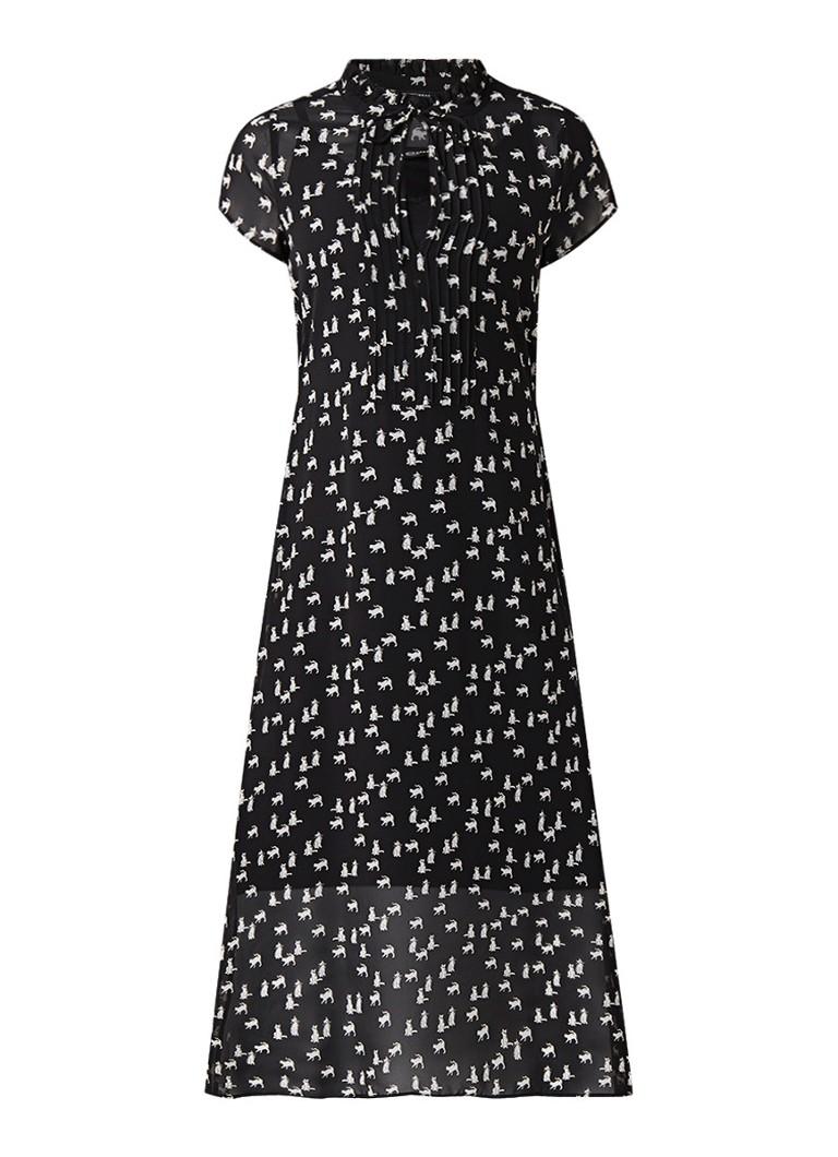 Expresso Zizi A-lijn midi-jurk met dessin en strikkraag zwart