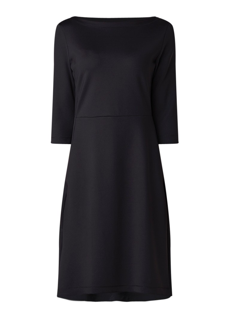 Expresso Arlene A-lijn jurk met steekzakken en stretch zwart