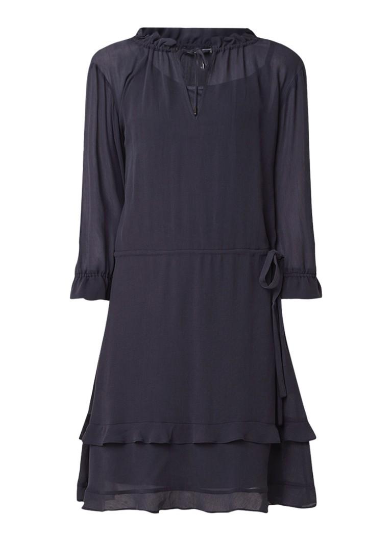 Expresso Darosa jurk met V-hals donkerblauw