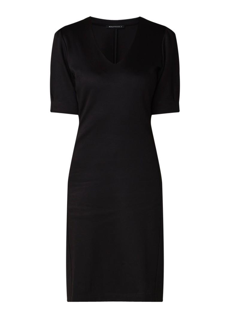 Expresso Netula mini-jurk met V-hals zwart