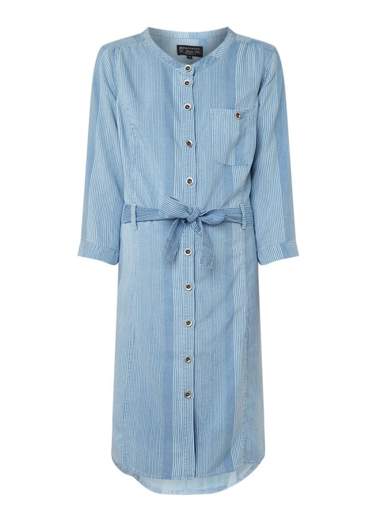 Expresso Elany blousejurk met streepdessin en strikceintuur lichtblauw