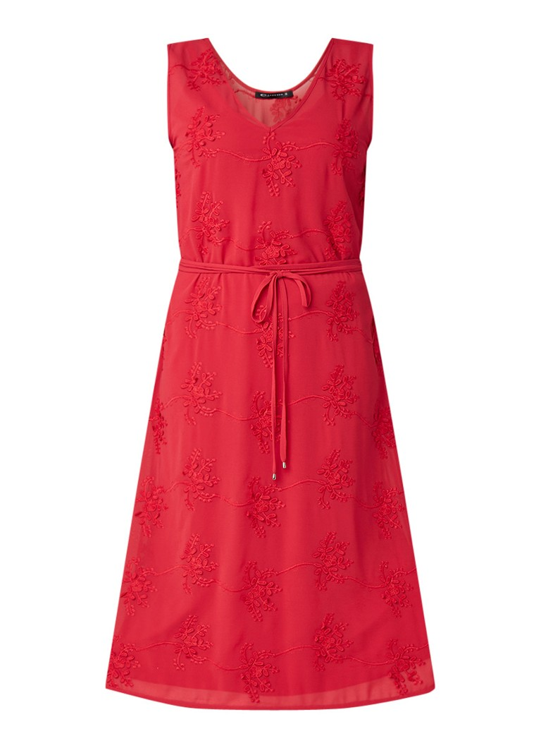 Expresso Elfy midi-jurk met borduring donkerroze