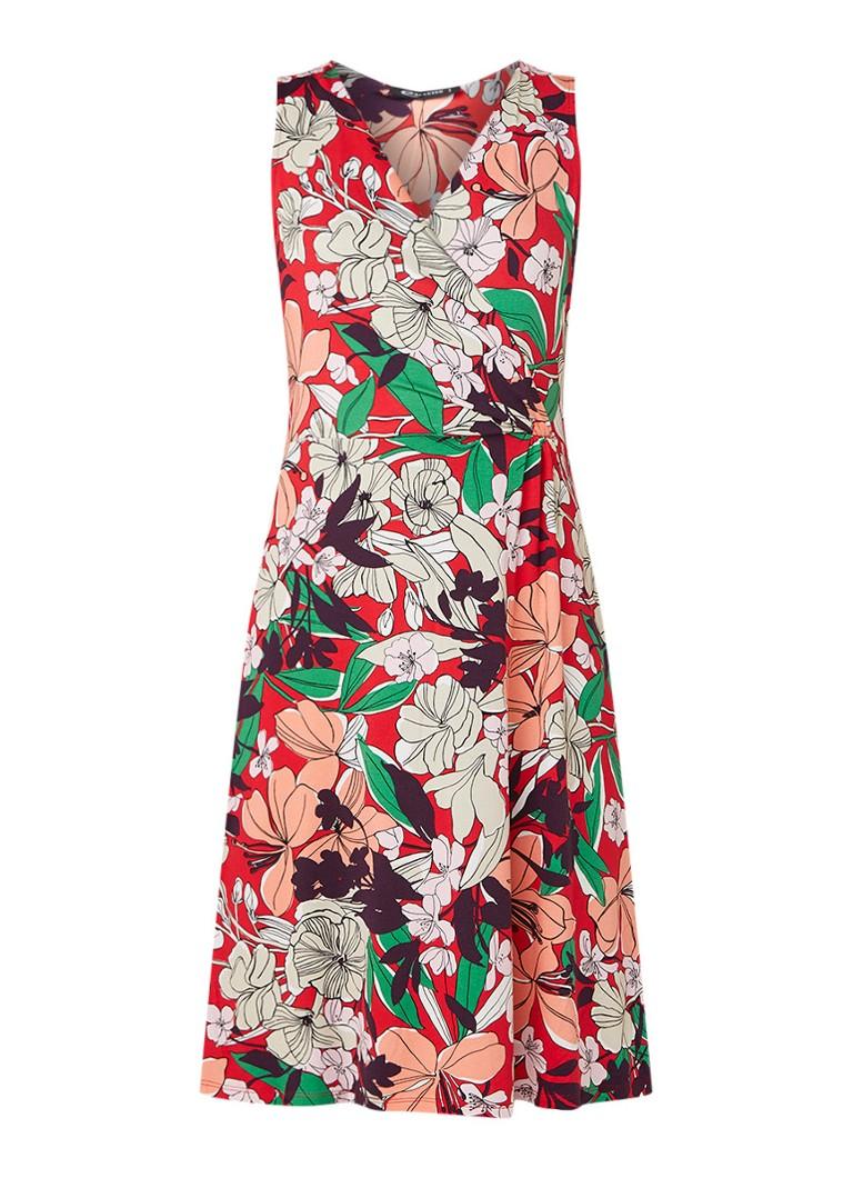 Expresso Elona mouwloze midi-jurk met bloemendessin rood