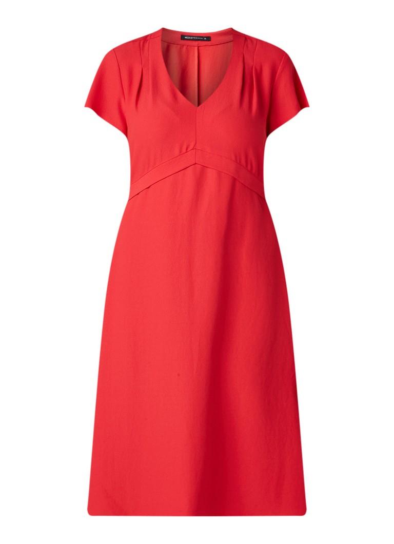 Expresso Enneke jurk van crêpe met V-hals en strikceintuur kersenrood