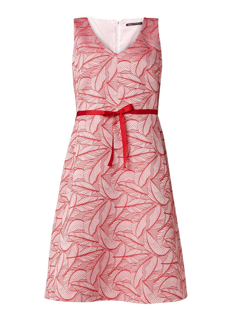 Expresso Esther midi-jurk met ingeweven dessin rood