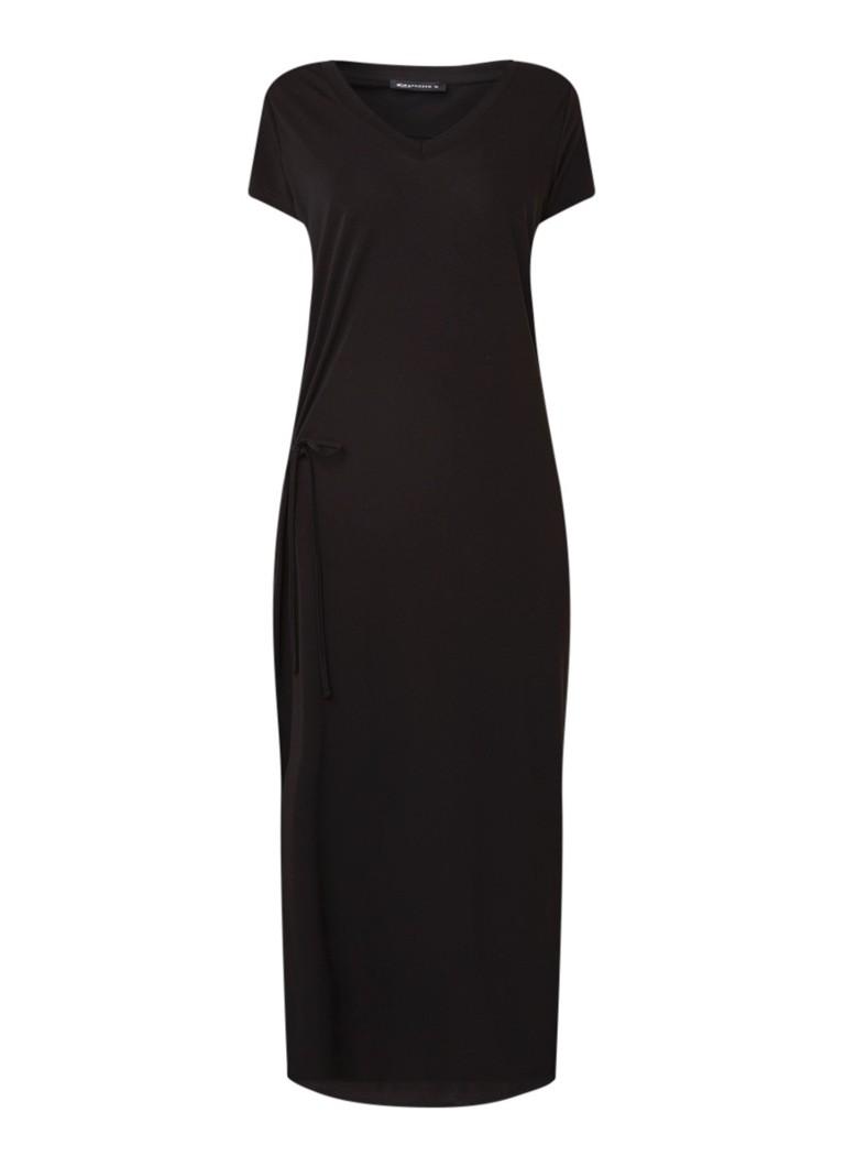 Expresso Fay loose fit maxi-jurk van jersey met strikceintuur zwart