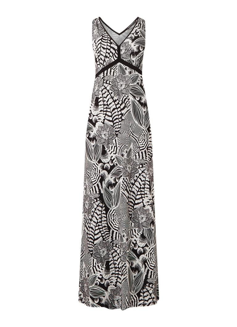Expresso Floor maxi-jurk van jersey met bloemendessin zwart