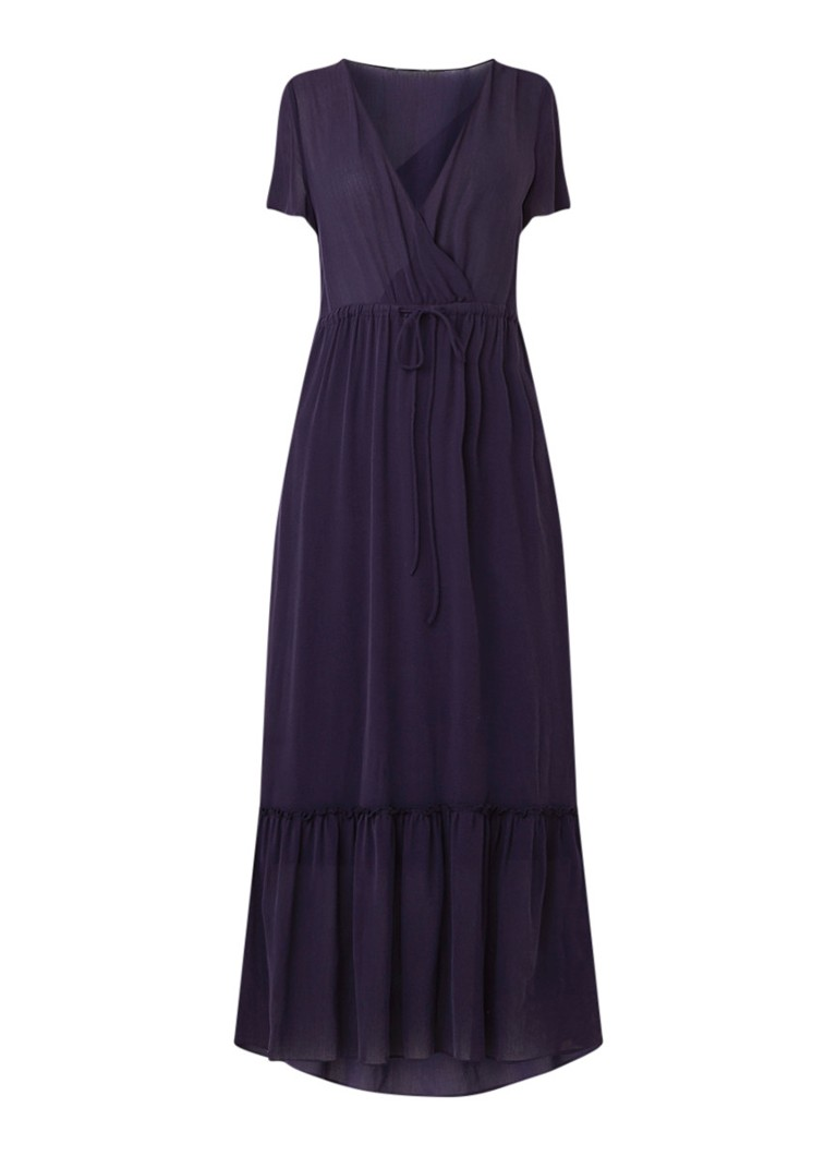 Expresso Gessence loose fit maxi-jurk met trekkoord en volant donkerblauw