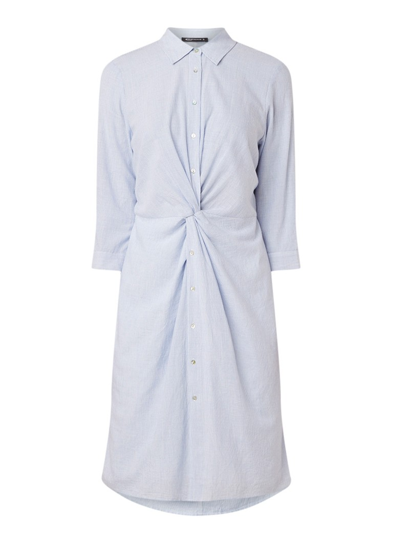 Expresso Gracia blousejurk met streepdessin en knoopdetail lichtblauw