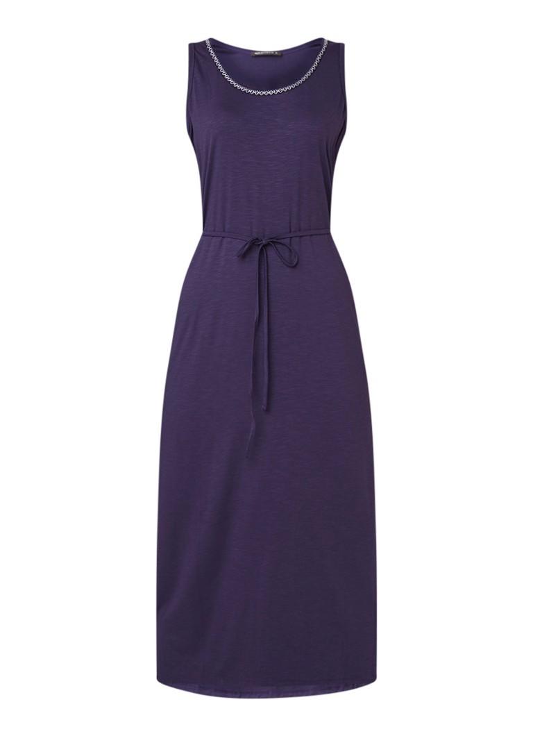 Expresso Gretchen maxi-jurk van jersey met strikceintuur middenblauw