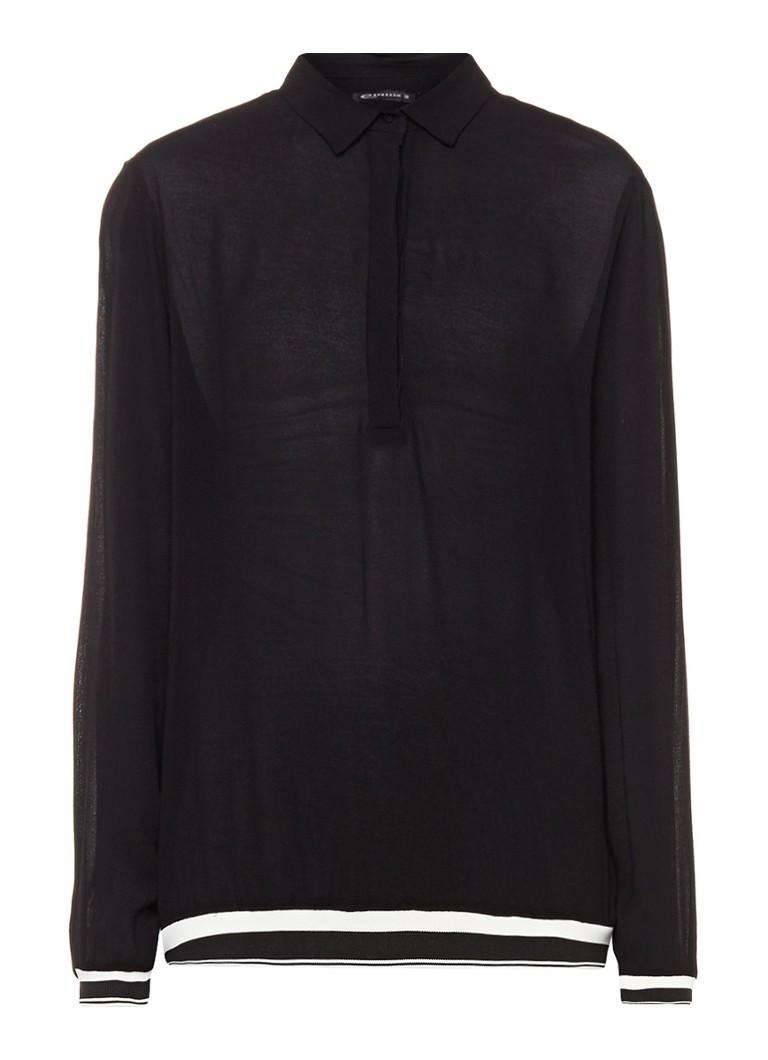 Expresso Bloem semi-transparante top met streepdetail zwart