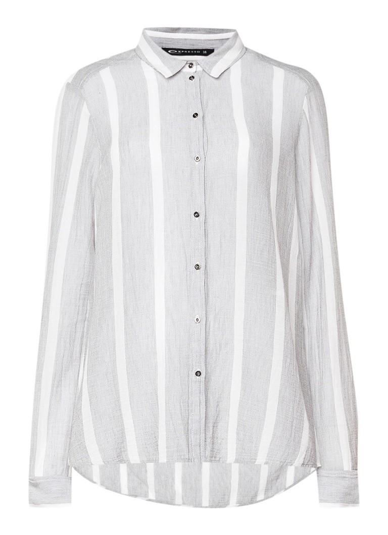 Expresso Delight voile blouse van katoen met streepdessin zwart