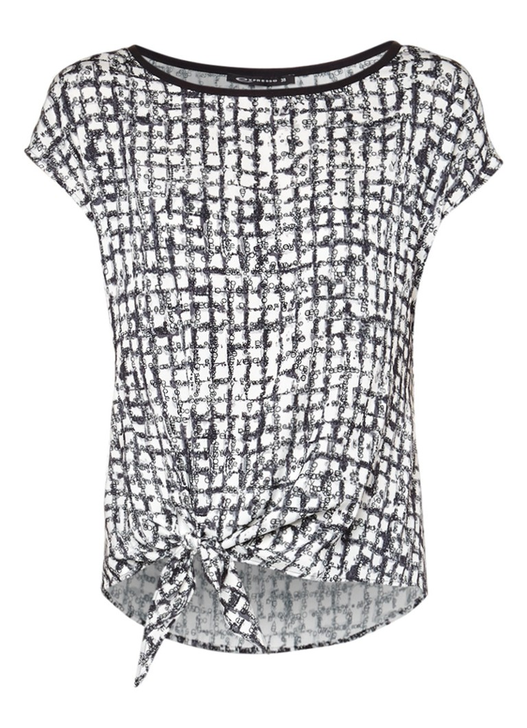 Expresso Dory top met all over dessin lichtblauw