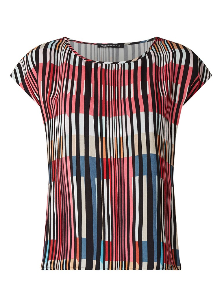 Expresso Amy mouwloze top met streepdessin