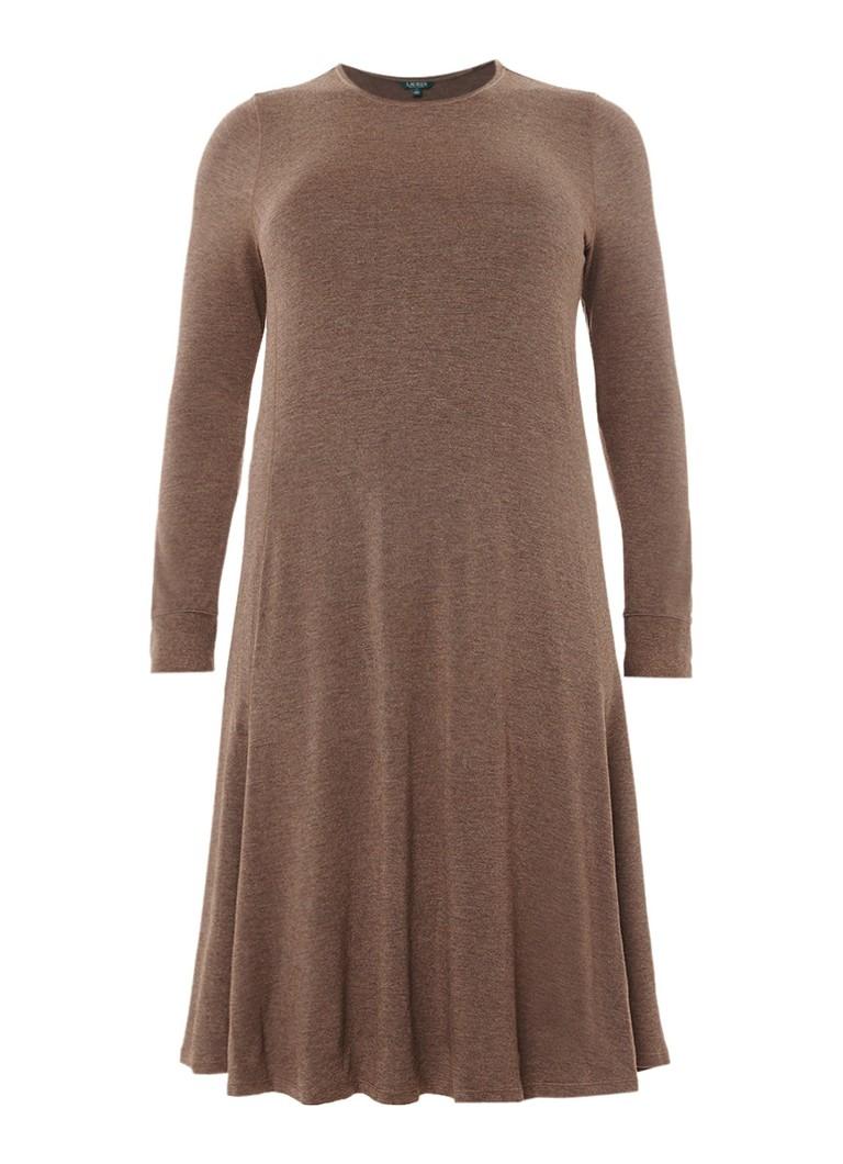 Ralph Lauren Midi-jurk met lange mouwen lichtbruin