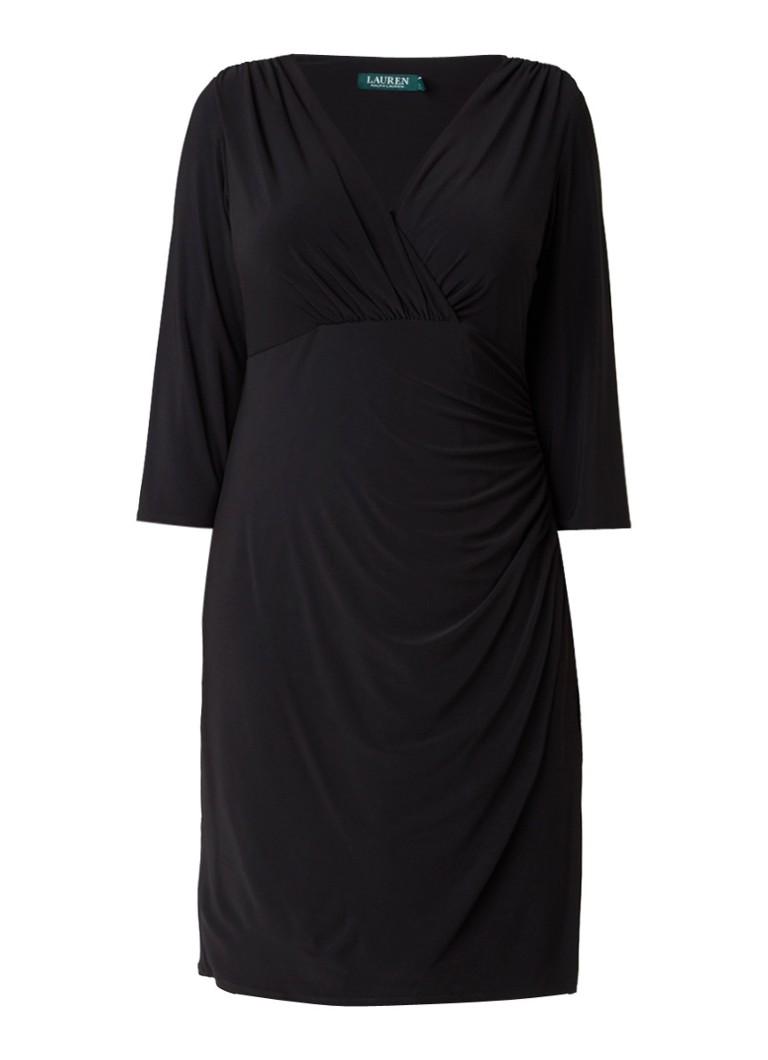 Ralph Lauren Elsie midi-jurk met overslagtop en plooien zwart