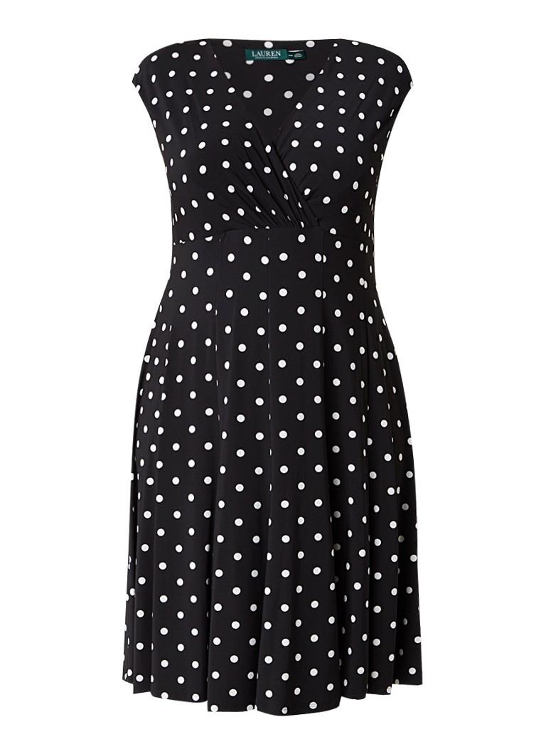 Ralph Lauren Kim A-lijn jurk met polkadots zwart