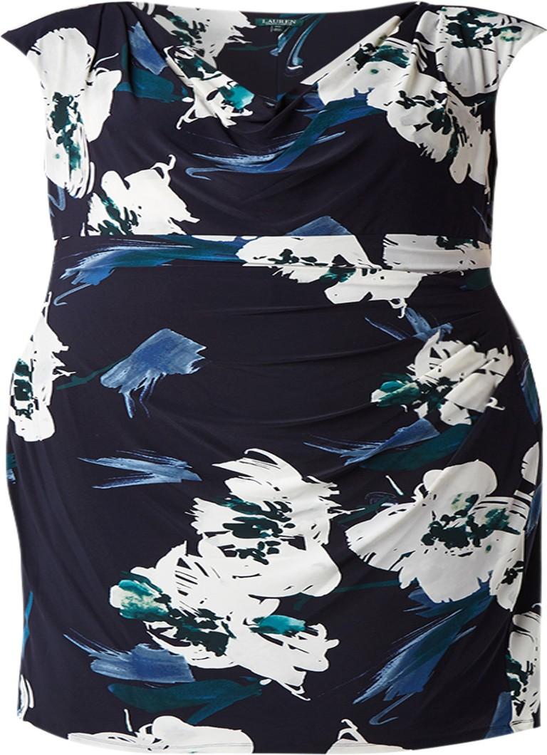 Ralph Lauren A-lijn jurk van crêpe met bloemendessin donkerblauw