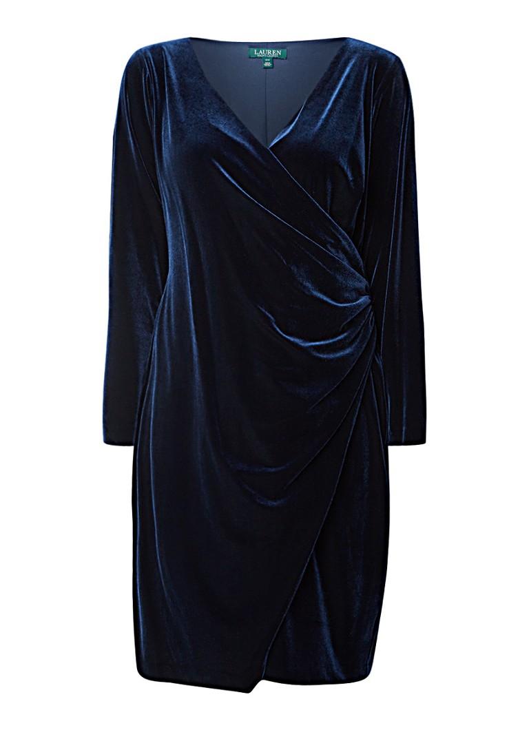 Ralph Lauren Midi-jurk van fluweel met overslag donkerblauw