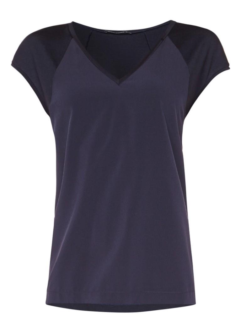 Expresso Aafien loose fit T-shirt met V-hals zwart
