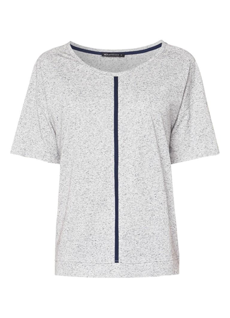 Expresso Aris gemêleerd T-shirt met contrastbies zwart