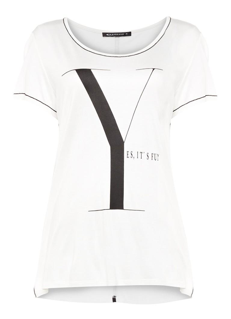 Expresso Bodil loose fit T-shirt met frontprint en contrast details zwart