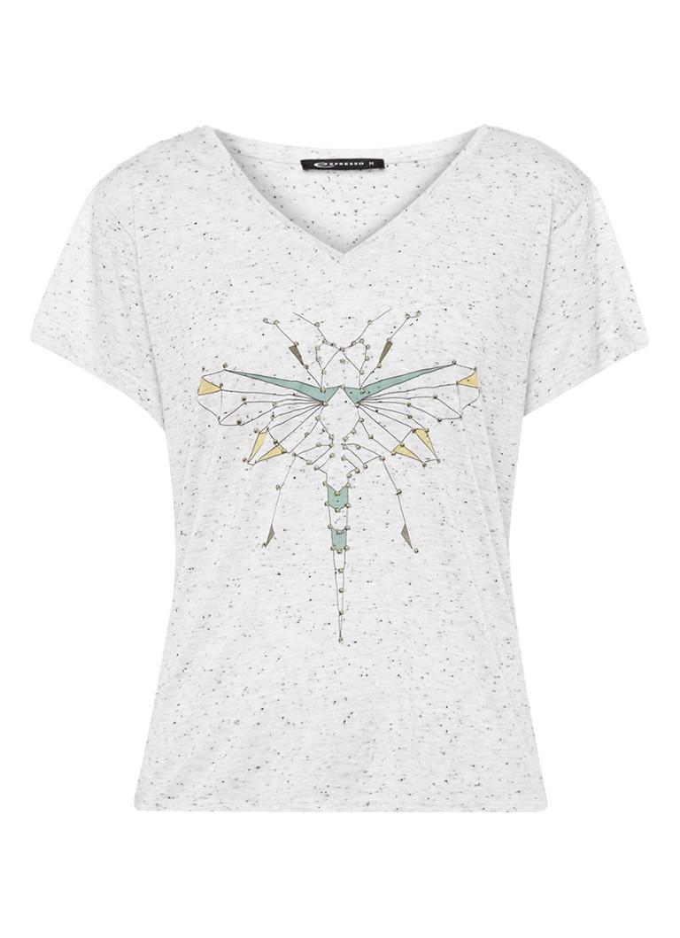 Expresso Carlijn gemêleerd T-shirt met print zwart