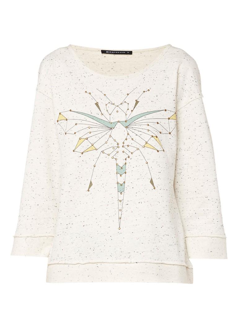 Expresso Conchita sweater met print en studs zwart