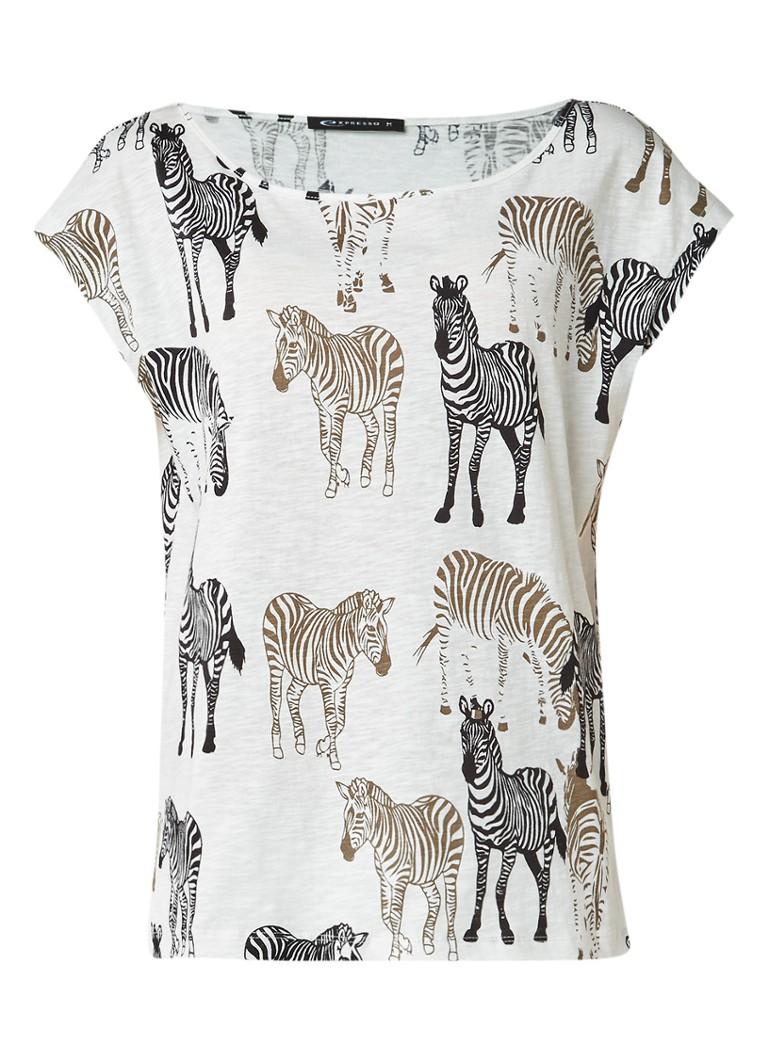 Expresso Ebelle T-shirt met zebraprint zwart