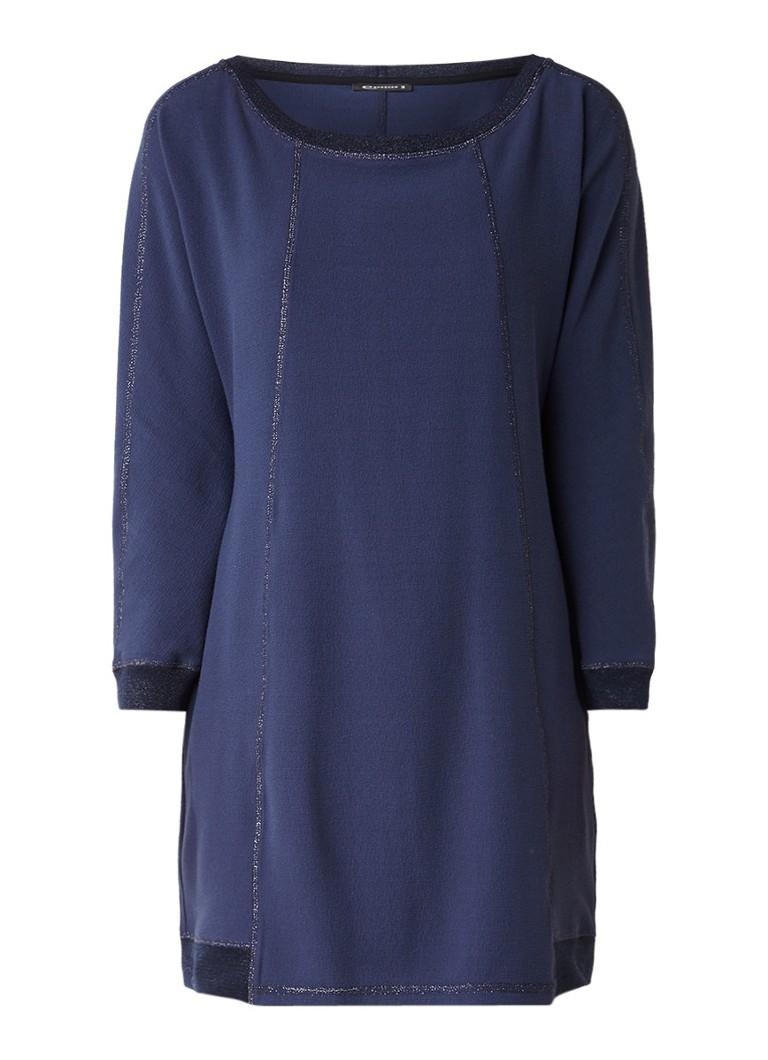Expresso Nicole jurk van crépe met lurex donkerblauw