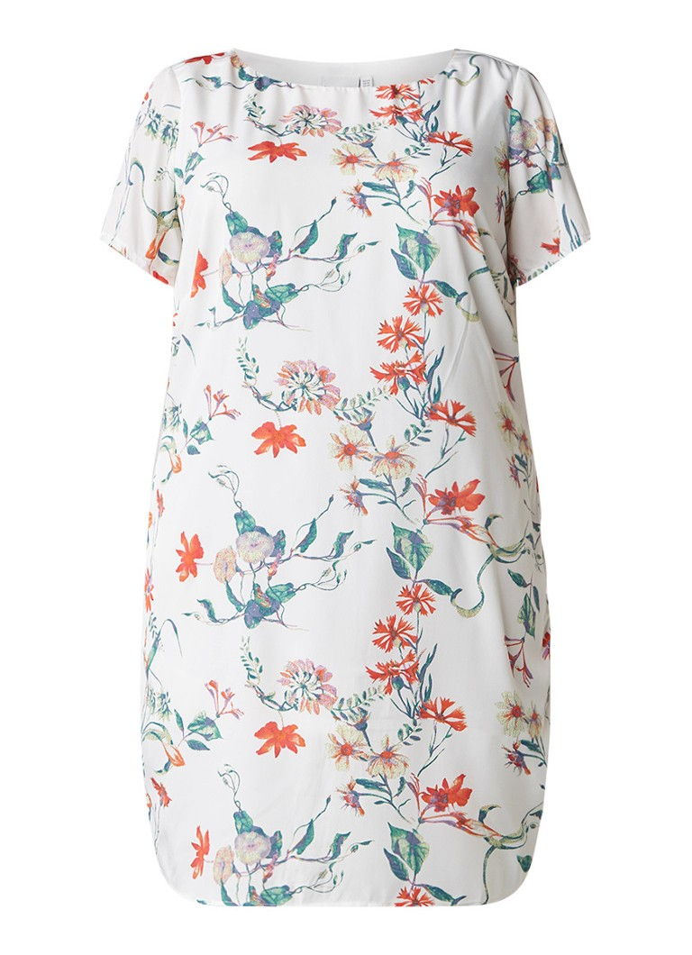 Junarose Risia jurk met print en ronde hals gebroken wit