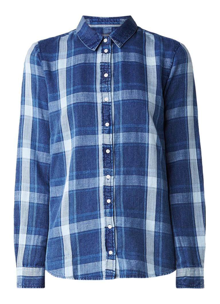 McGregor Cabot blouse van denim met ruitdessin