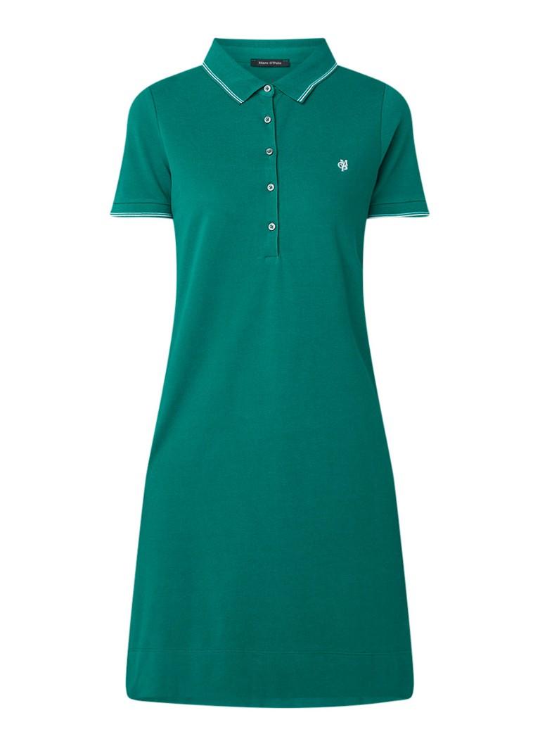 Marc O'Polo Polo jurk van piqué katoen met logoborduring groen