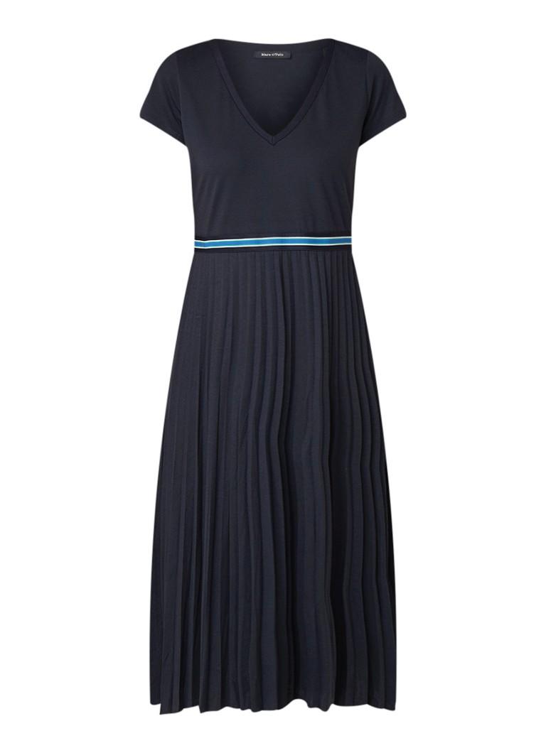 Marc O'Polo Midi-jurk met V-hals en plissé donkerblauw