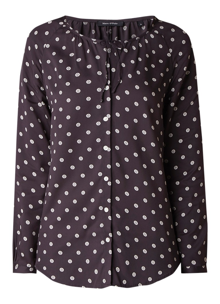 Marc O'Polo Blouse met dessin en strikdetail