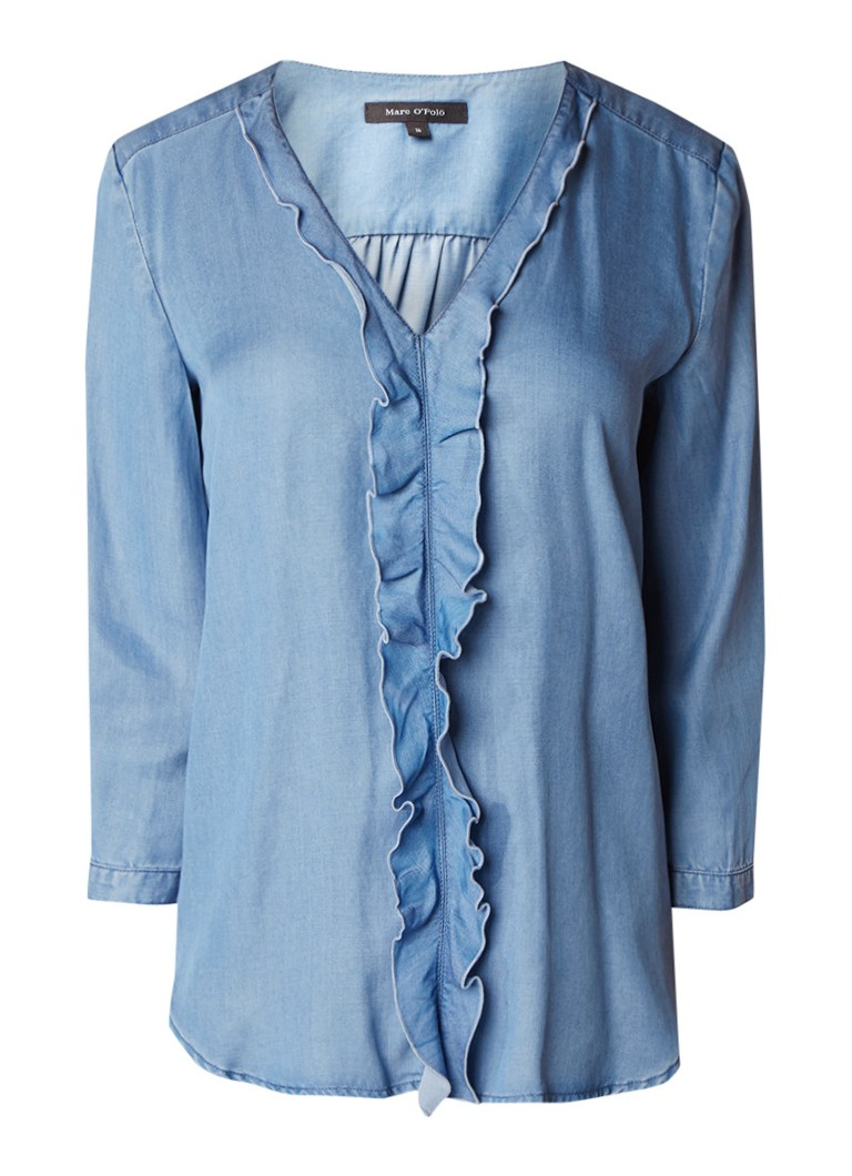 Marc O'Polo Chambray blouse met ruches