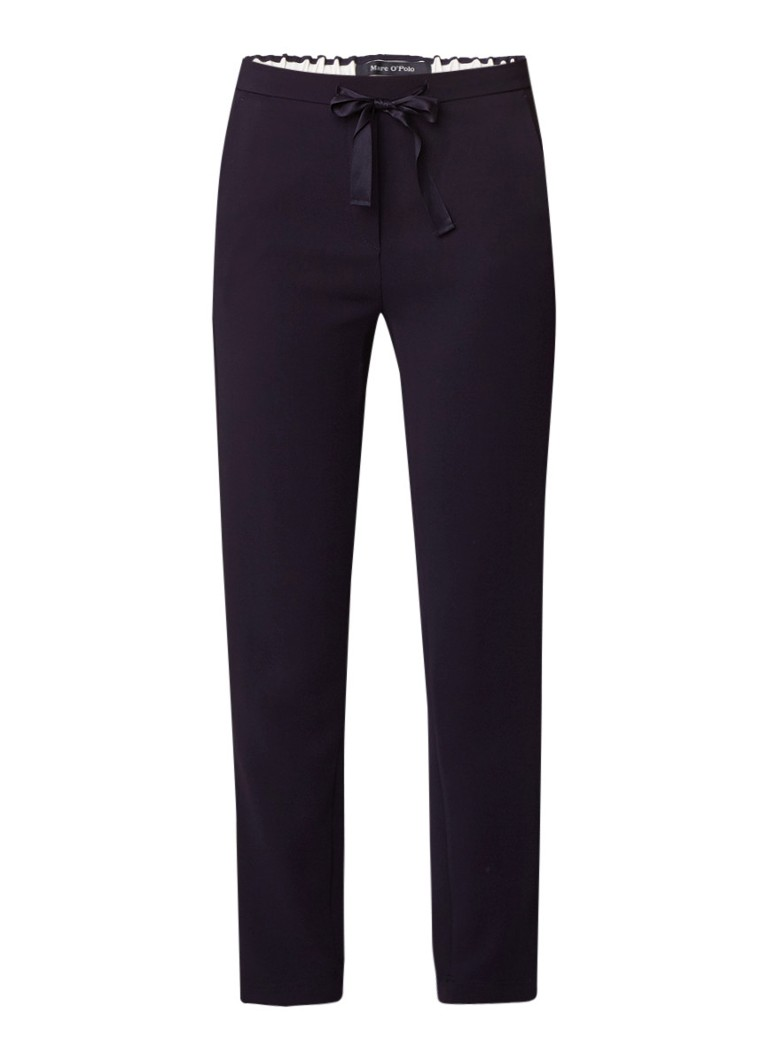 Marc O'Polo High rise slim fit pantalon met trekkoord