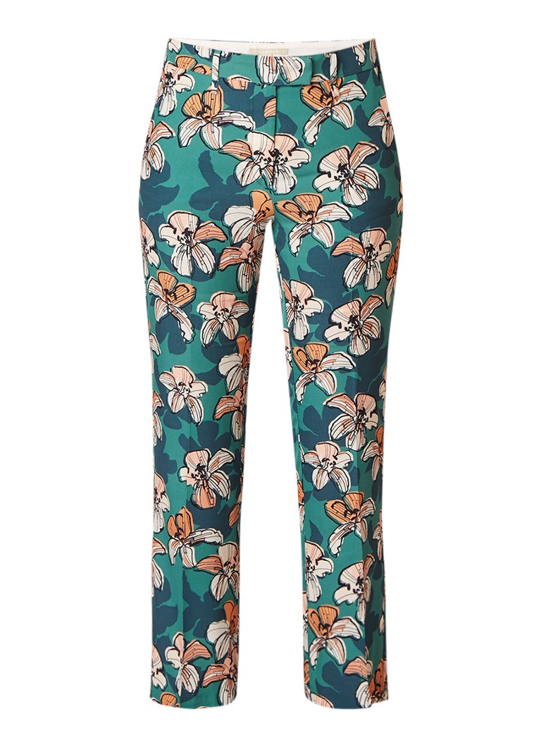 Marc O'Polo Straight fit cropped pantalon met bloemendessin
