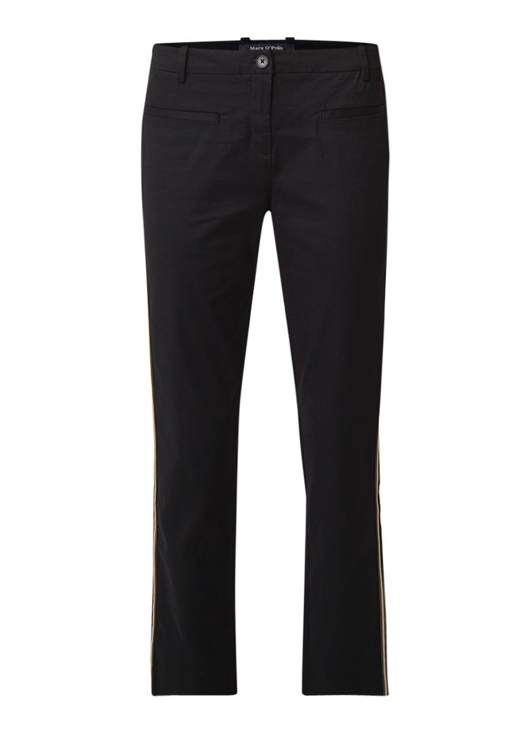 Marc O'Polo Straight fit high rise cropped chino met gestreepte bies
