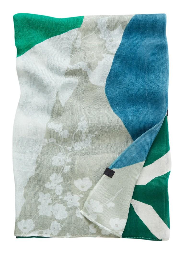 Marc O'Polo Handgeprinte sjaal in katoenblend 180 x 70 cm