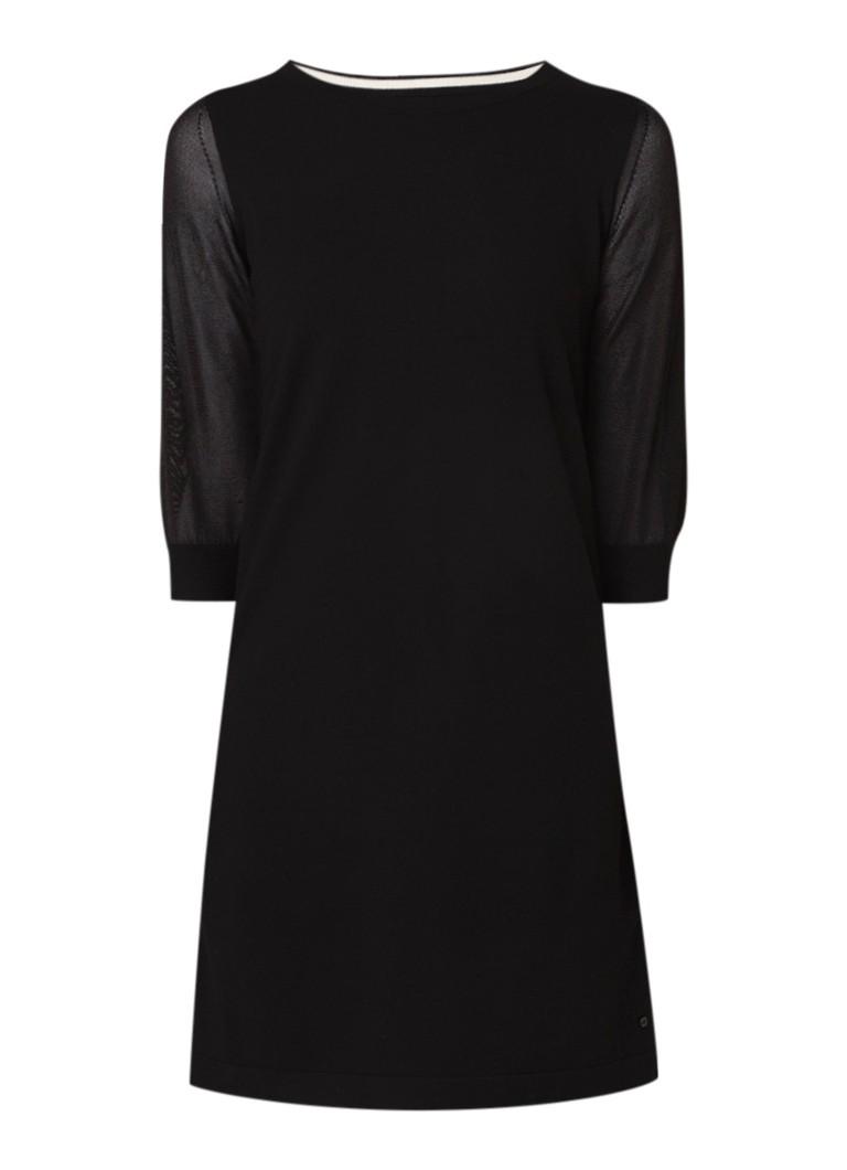 Marc O'Polo Fijngebreide tuniekjurk met contrastbies zwart