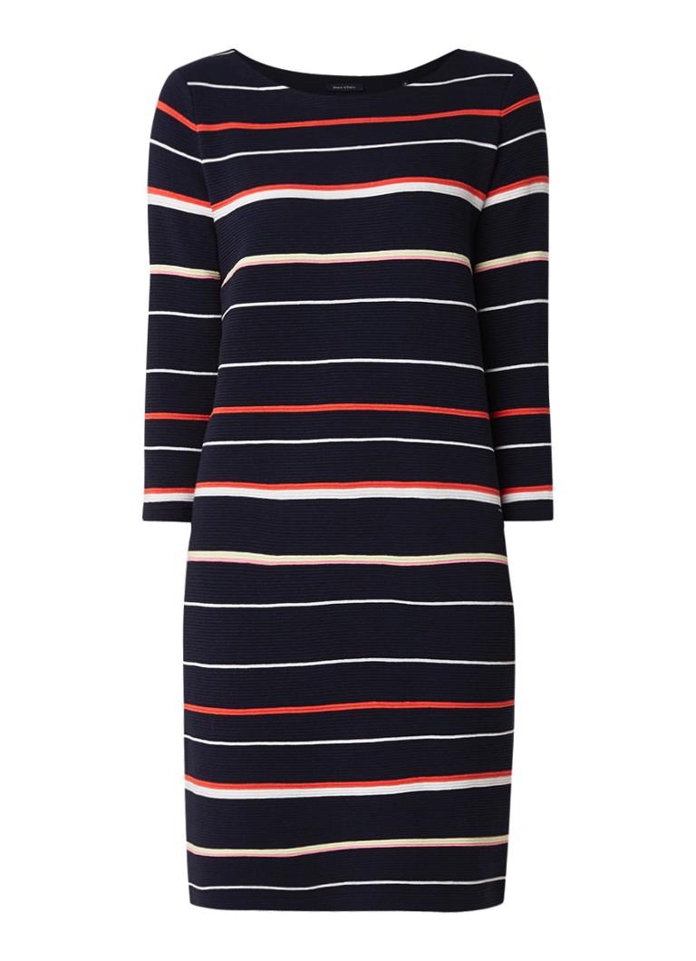 Marc O'Polo Ribgebreide jurk van katoen met streepdessin donkerblauw