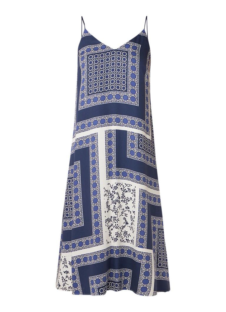 Marc O'Polo Mouwloze midi-jurk met dessin blauw