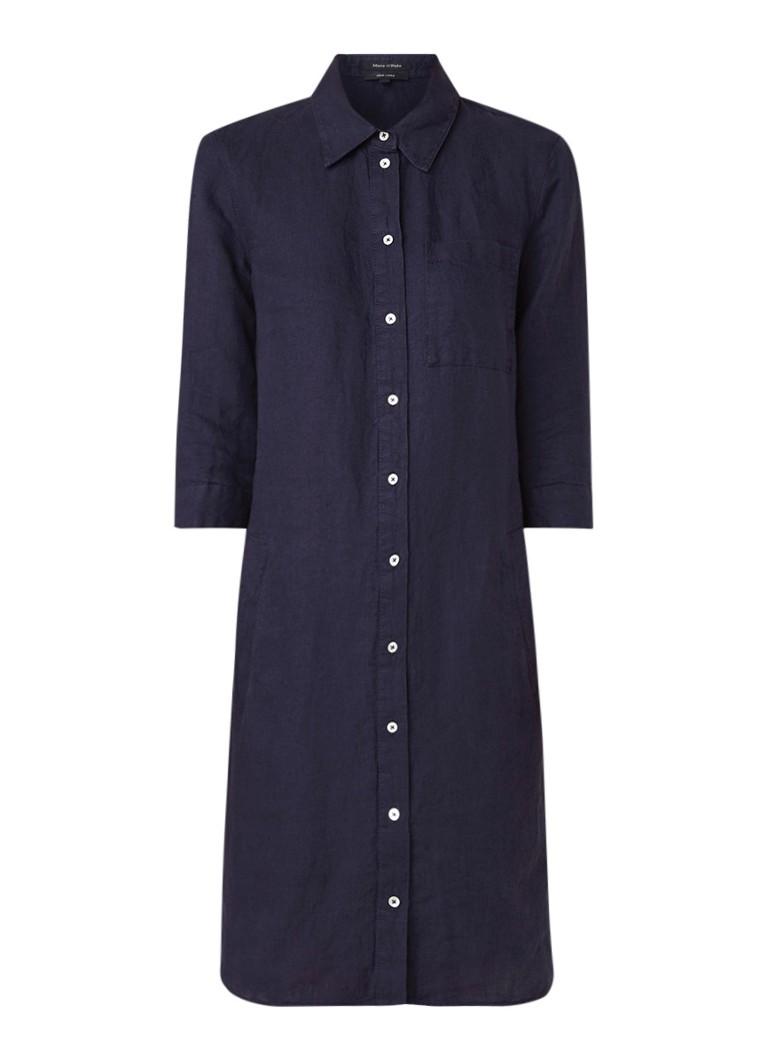 Marc O'Polo Tuniekjurk van linnen met borstzak donkerblauw