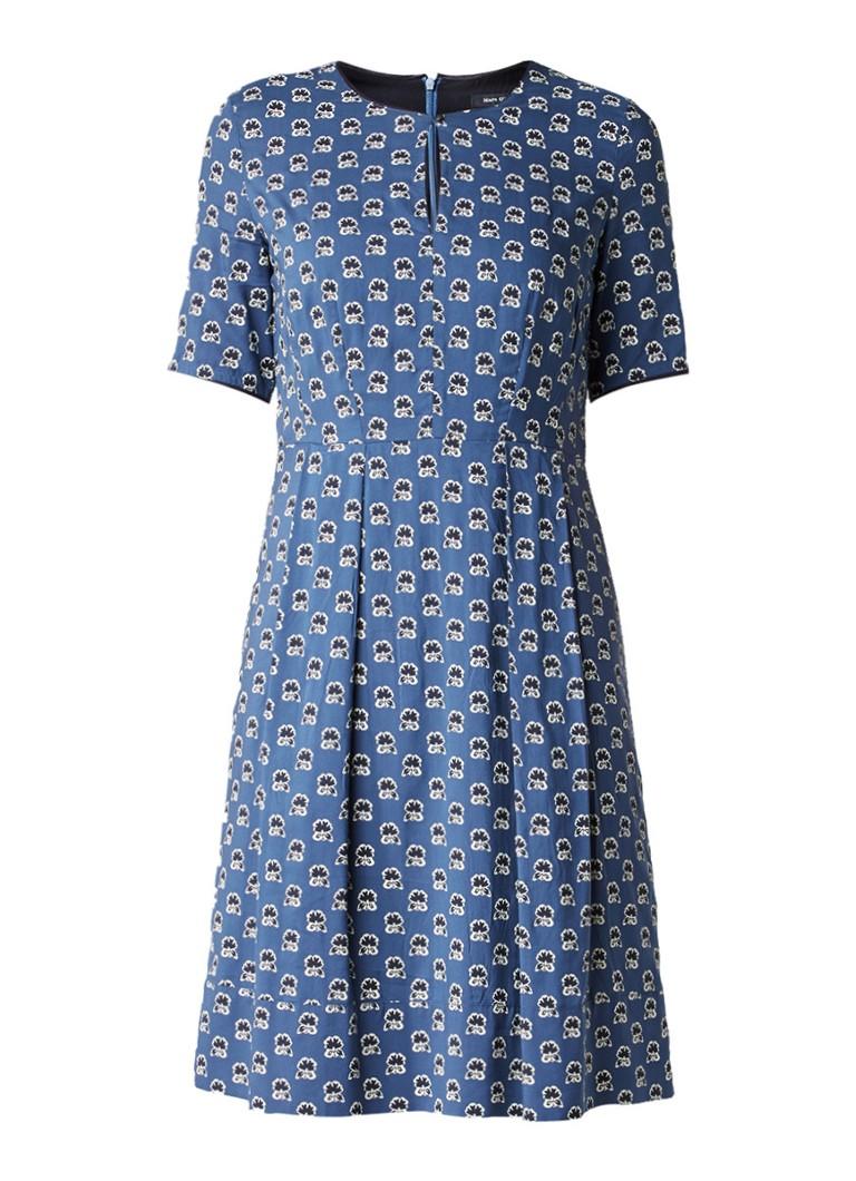 Marc O'Polo Gebloemde A-lijn jurk met keyhole blauwgrijs
