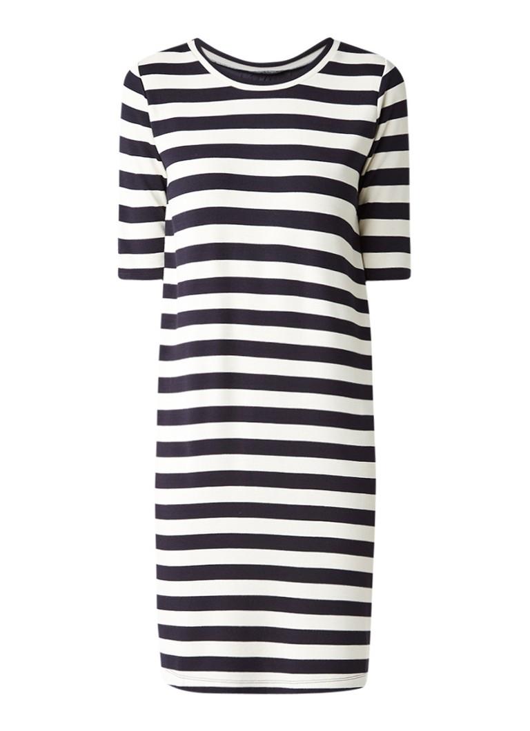 Marc O'Polo Jersey midi-jurk met streepdessin en contrasterende achterzijde donkerblauw